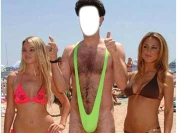 Montagem de fotos - Colocar o rosto de amigos e familiares no corpo de artistas famoso - Borat de Sunga