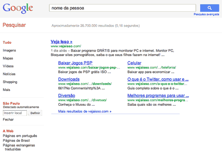 Usar o Google para achar pessoas usando o nome, sobrenome, apelido e cidade