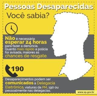 Notificação precoce aumenta suas chances de resgatar pessoas desaparecidades recentemente - use a POLICIA, e NÃO A INTERNET para tirar suas dúvidas