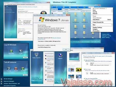 transformar o windows xp e vista em windows 7 baixar skin tema