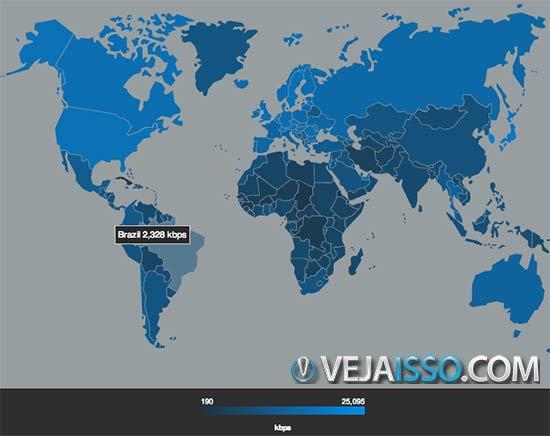 Mapa da conexão de internet do Brasil em comparação com o mundo - Nossa conexão não é rapida, mas também não tão lenta assim
