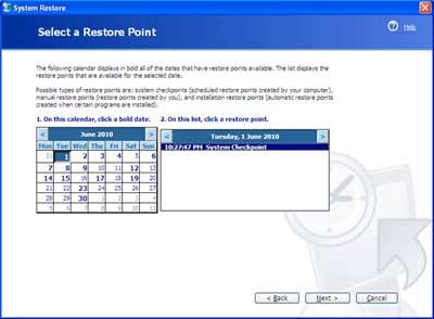 Consertar o PC - Tela de Restauração do Sistema no XP - Escolher dia antes de ter problemas no computador e precisar arrumar