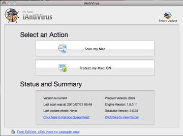 iAntivirus o mais simples anti-virus para Mac - Proteção continua contra worms de forma fácil