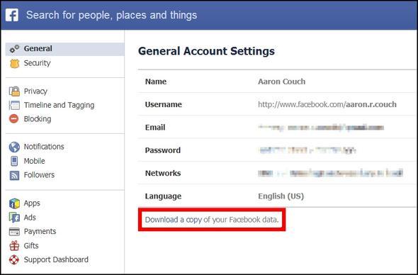 Configurações de conta para baixar as fotos do Facebook