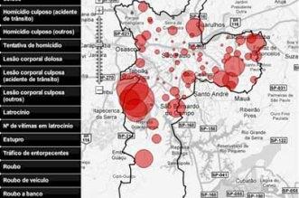 Mapa do Crime de São Paulo - Bairros mais perigosos para morar e ser roubado