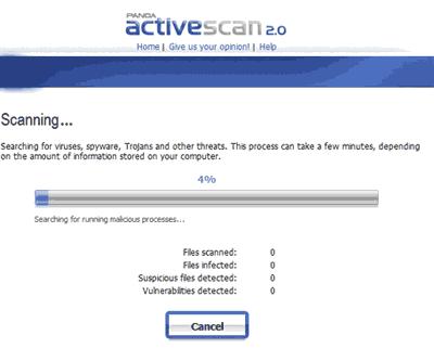 Panda ActiveScan - Site online para verificar virus no computador, gratis