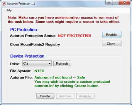 Autorun Protector - automaticamente vacina e procura por virus e malware