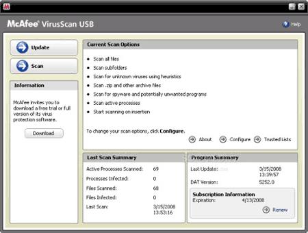 McAfee VirusScan USB - Melhor Anti-virus para Pen Drive, mas pago
