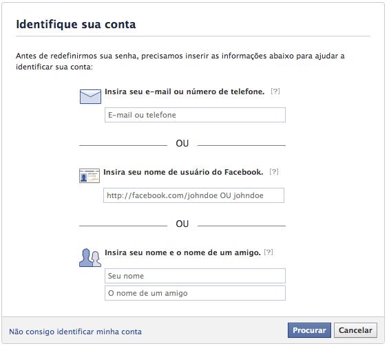 Recuperar login e senha do Facebook atraves do Esqueci minha senha - Email, Telefone ou amigo