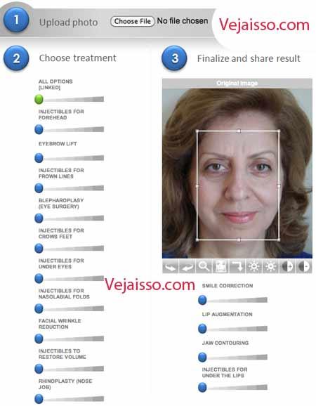 Simulador de Cirurgia Plástica - Antes e depois da estética do rosto