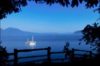 Exemplo de bom enquadramento - O barco fica destacado pelas árvores ao redor que não estão iluminadas