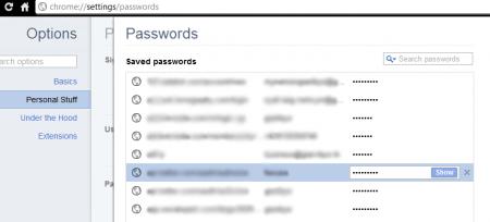 Google Chrome - Tela de logins e senhas salvas, podendo facilmente mostrar seus passwords clicando no botão Show