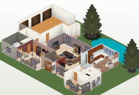 Modelo 3D da planta da sua casa para ter melhor ideia das dimensões antes de contruir, tudo isso grátis e muito fácil de usar