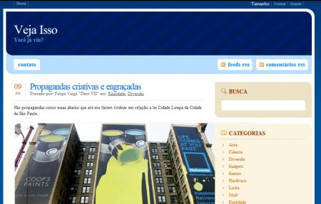 Veja Isso com seu primeiro design no WordPress em 2007