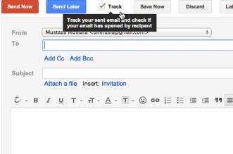 Clicar no botão track na tela compor email para saber o e-mail foi aberto e lido