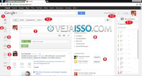 Como usar o Google+ - A interface da pagina principal explicada
