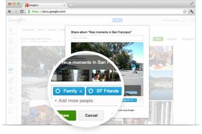 Compartilhar seu album de fotos apenas com quem você quiser - simplesmente digite o nome do circulo ou o nome da pessoa e clique Compartilhar