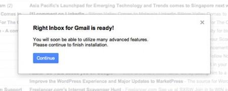 Confirmacao que o Right Inbox foi instalado na sua conta do Gmail corretamente