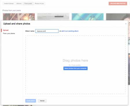 Enviar fotos no Google+ e fácil como arrastar um arquivo no computador - você pode ver suas fotos, fotos do seus posts e fotos em que você esta