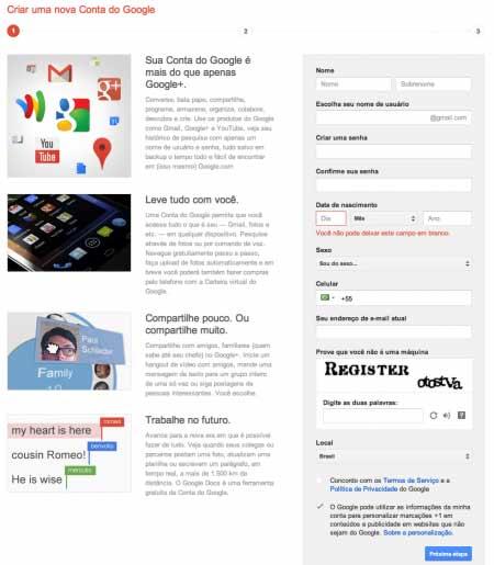 Fazer o cadastro no Google para quem não tenha conta @gmail.com é obrigatório - Não dá para cadastrar com @msn, @live, @hotmail, @Yahoo
