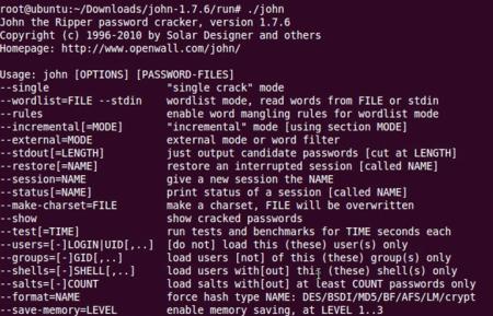 Interface de comando do John The Ripper para Linux e para Mac - Decriptografar banco de dados e senhas