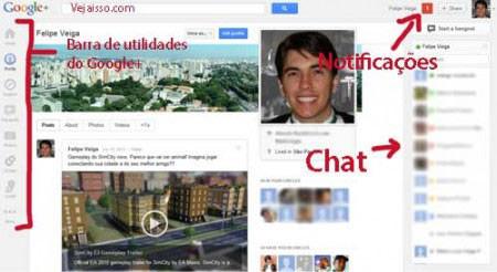 Página principal do Google+ com chat, seu perfil e notificações