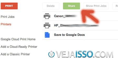 Como compartilhar a sua impressora wireless com qualquer pessoa pela internet - Clique na impressora adiciona e clique em Share ou Compartilhar