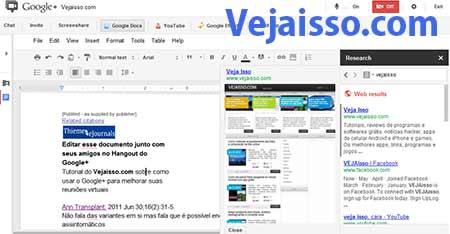 Editar documentos de texto, planilhas e apresentações diretamente no Google+ hangout colaborativamente