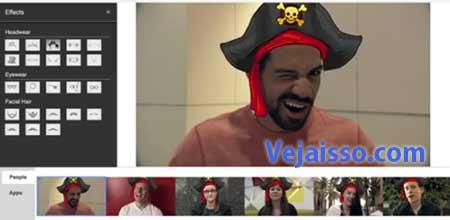 Efeitos de engraçados no video como mascaras, chapéus, bigodes são aplicados com um clique e em tempo real!