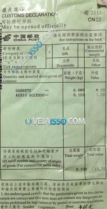 Exemplo de CN22 de uma encomenda importada da China, essa nota e usada pelo fiscal para ver se deve ser taxado seu produto