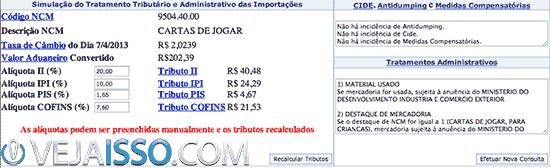 Exemplo de simulação de tarifa alfandegaria estimando o valor correto de imposto a pagar