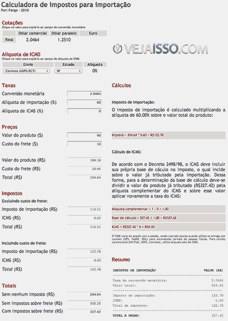 Calculadora de impostos para importação a pagar com o exemplo do custo total da encomenda importada.