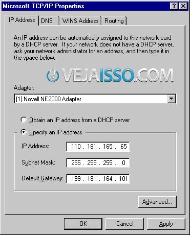 Antigamente voce tinha que especificar você mesmo o seu endereco de IP que a rede te atribuia no Windows XP
