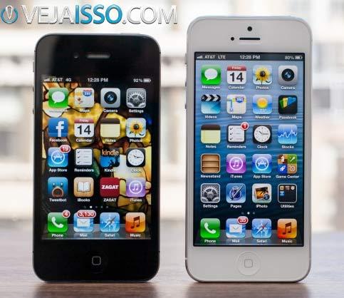 Comparação da tela do iPhone 5 com 4 polegadas vs a tela dos outros iPhone com 3,5 polegadas - Primeiro celular widescreen 16-9 da Appleportanto Você deve comprar o novo iPhone 5 agora