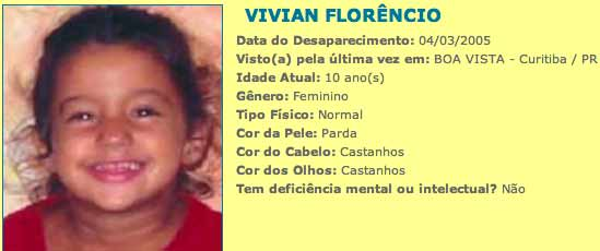 Exemplo de filho no sistema nacional de cadastro de desaparecido - orgao oficial do governo para buscar pessoas perdidas ou sequestradas