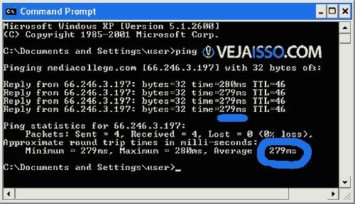 Exemplo de ping  - uma media de 280ms para o servidor receber e responder
