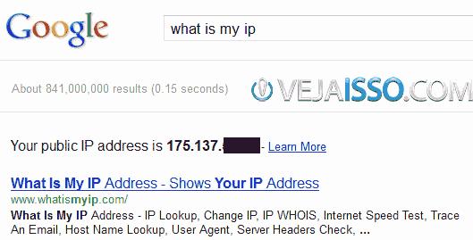 Google responde em menos de 1 segundo qual o seu IP