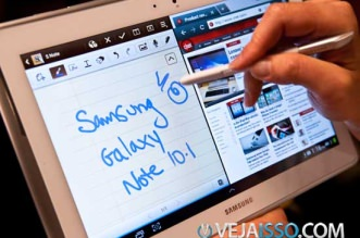 Samsung Galaxy Note 10.1 e excelente para producao de conteudo com Multitasking e a S-Pen para escrever e editar fotos