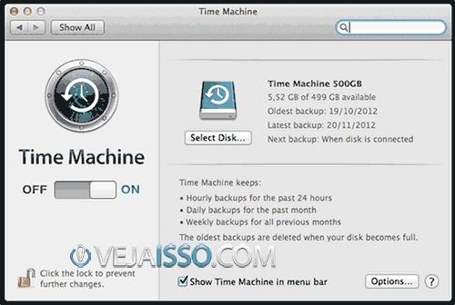 Tela de configuração do Time Machine - é muito fácil aprender como fazer backup do seu Mac, iMac ou MacBook