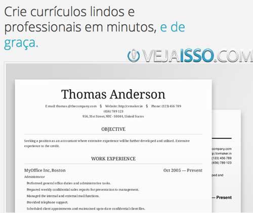 CVMaker - Modelo formal de currículo traduzido para o português online e grátis - Não poderia ser melhor