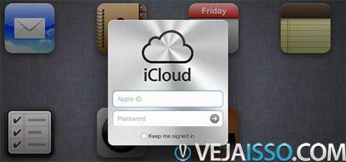Faça o login no iCloud.com com o login e senha que você usou no cadastro no seu iPhone e iPad