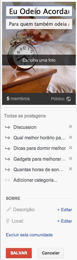 Pronto você já aprendeu como criar uma comunidade no Google+ - Agora adicione e foto, tagline e tópicos!