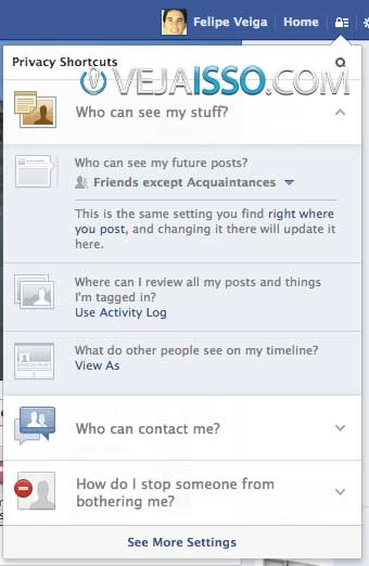 Atalhos de privacidade do Facebook permitem que você controle quem vê suas atualizações e rever todas as suas atividade sno Facebook para gerenciar sua reputação