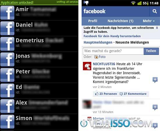 FaceNiff utiliza Sniff para capturar rapidamente pacotes via Wifi para hackear Facebook, roubando a sessão sem precisar ter login ou senha