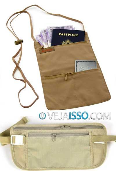 Pochete invisível e carteira de pescoço sao ótimas opções para quem vai viajar e nao quer arriscar ter o passaporte, celular e carteria roubados em um país estranho