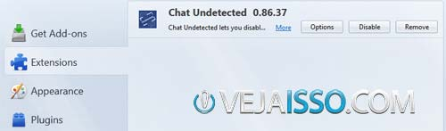 Remover o plugin Chat Undetected do Mozilla Firefox