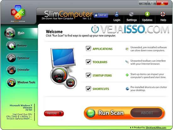SlimComputer o melhor programa para remover bloatware do computador, especialmente dos novos e formatados para o padrão do PC