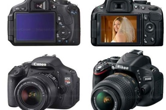 Até as fotos do modelo das cameras em questão são comparadas lado a lado em alta qualidade e em escala, para facilitar a visibilização das máquinas fotografias