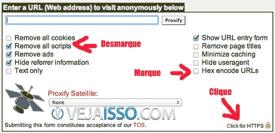 Exemplo de proxy e como usar corretamente - Sempre que possivel habilite o HTTPS, permitindo que scripts funcionem e que a URL seja criptografada