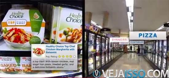 Exemplos de como compras poderão ser revolucionadas através dos computadores de vestir - secções virtuais, preço, comparações e lista de compras que se marcam sozinhas
